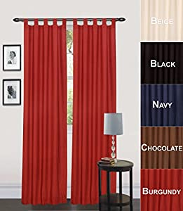 Utopia Bedding Tab Top Curtain 60 W X 84 L Burgundy