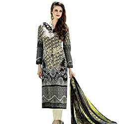 Shelina Women Black Cotton Printed Dress Material