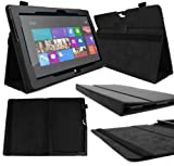 DURAGADGET Executive Black Faux Leather Folio Case With Built In Stand Custom Designed For The Microsoft Surface RT 10.6 Inch Tablet Hybrid PC (32GB, 64GB)