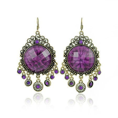 Klaritta Vintage Jewellery Rhinestone Antique Gold & Purple Stone Long Drop Dangle Earrings E92
