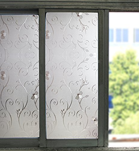 Bloss Excellent Quality 3D Static Cling Window Film Stained Glass Paper Decorative Frosted Film for Window, 17.7inch x 78.7 inch, 1 Roll (Glass Cabinet Panel compare prices)