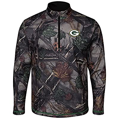 "Green Bay Packers Majestic NFL ""Woods"" Men's 1/2 Zip Camouflage Sweatshirt"