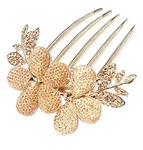 Coco Digital Charm Fashion Womens Bridal Wedding Hair Barrettes Flower Leaf Crystal Rhinestone Hair Clip Comb-Champagne