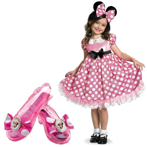 Pink Minnie Mouse Glow In The Dark Toddler Costume With Minnie Shoes front-30695