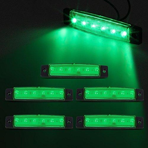 Partsam 5x 12V 6 LED Truck Bus Boat Car Trailer Side Marker Parking Light Lamp Green (Green Led Brake Lights compare prices)