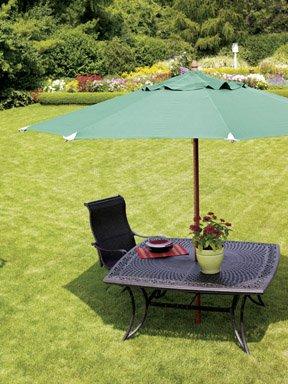 Living Accents Wood Olefin Market Umbrella 11 39 D X 8 1 2 39 H Green Home Improvement Patio And