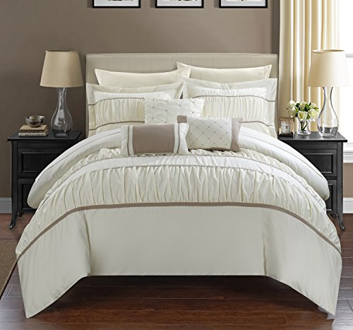 Sale!! Chic Home 10 Piece Cheryl Pleated & Ruffled Bed In A Bag Comforter Set with Sheet Set, Qu...