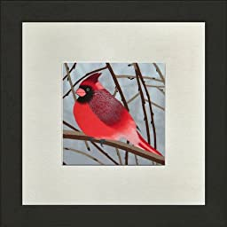 Susho, King Silk Art Handmade Silk Embroidery - Cardinal on a Branch - White Mat Framed Regular Size 11023WF