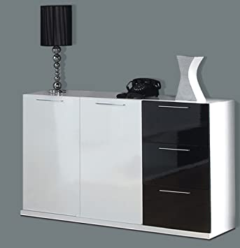 Lena Black White Gloss Sideboard Dresser Storage Unit