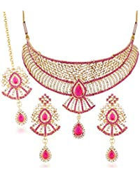 I Jewels Gold Plated Traditional Choker Necklace Set With Earrings & Maang Tikka For Women MS126Q