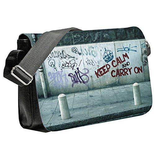 Keep Calm 10015, Keep Calm And Carry On, Unisex Nero Sublimazione Borsa a tracolla Reporter Bag con Spallacci regolabili e Motivo Colorato.Dimensione:Medio-23x33x6cm