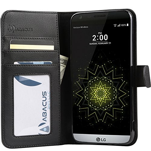 01. LG G5 Case by Abacus24-7, Wallet with Flip Cover and Stand for LG G5 Phone, Black
