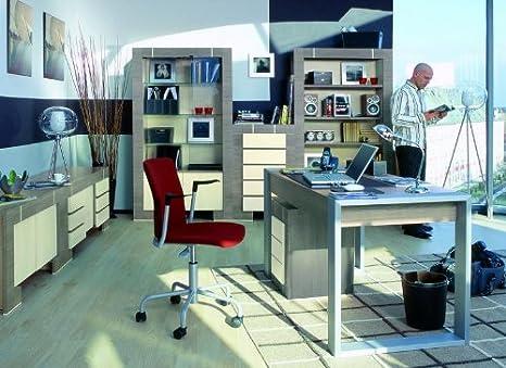 Buromöbel Set NEW GENERATION Eiche Grau&Creme Buro komplett Arbeitszimmer 6 teilig Standregal Schreibtisch Kommode Wandregal