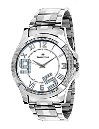 Swisstone White Dial Stainless Steel Chain Analog Watch For Men/Boys- ST-GR007-WHT-CH