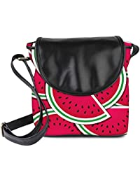 Snoogg Watermelon Wedge Background Card In Vector Format Womens Sling Bag Small Size Tote Bag