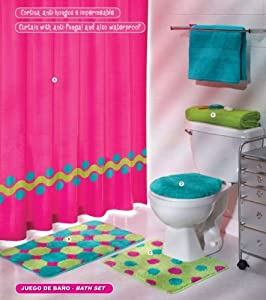 Pink green aqua blue circles bath set 5 pcs for Aqua blue bathroom accessories