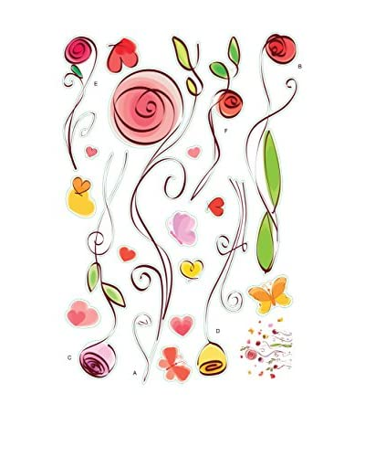 Ambiance Live Vinilo Decorativo Roses and butterflies watercolored Multicolor