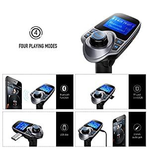 [New Version] VicTsing Bluetooth FM Transmitter Radio Adapter Car Kit With 5V 2.1A USB Car Charger MP3 Player Support TF Card USB Flash Drive AUX Input 1.44 Inch Display