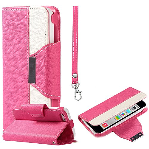 Mylife (Tm) Bright Poppy Pink + White {Modern Design} Faux Leather (Card, Cash And Id Holder + Magnetic Closing + Hand Strap) Slim Wallet For The Iphone 5C Smartphone By Apple (External Textured Synthetic Leather With Magnetic Clip + Internal Secure Snap