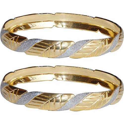 Gold and Rodium Plated Bangle Bracelets Pair Costume Jewelry from India Unique Gift for Her 2.25 inches