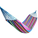 Oxking Camping Hammock Swing Outdoor Thickening Canvas Hammock Casual Single/double Bearing Family Travel Striped Hammock Hang Bed Mix Colors (PINK)