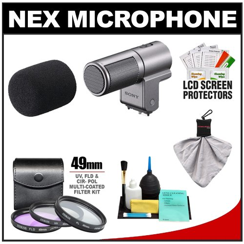 Sony Alpha ECM-SST1 Stereo Microphone with 3 Filter Set + Cleaning Kit for 3, 5, NEX-F3, NEX-C3, NEX-5N & NEX-5R Cameras