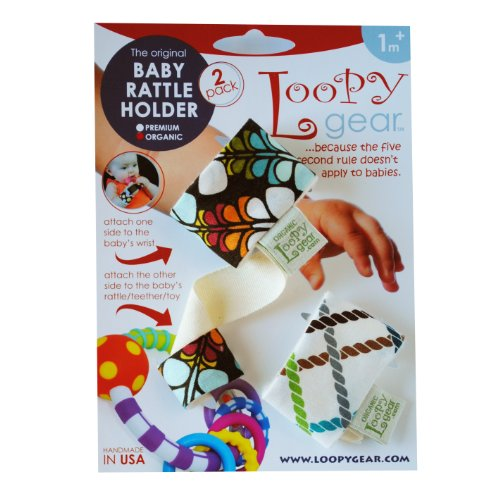 Loopy Gear Organic Cotton Baby Rattle Holder (2-Pack Includes: Beautiful Butterfly & Criss Cross Lagoon Patterns)