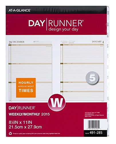 Day Runner Weekly Planner Calendar Refill 2015, 8.5 X 11 Inch Page Size (491-285)