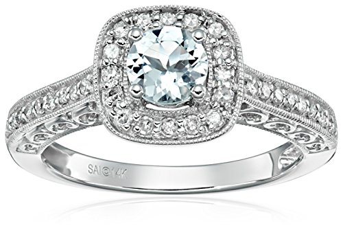 14k White Gold Aquamarine and Diamond Ring (1/4 cttw, H-I Color, I2-I3 Clarity), Size 8