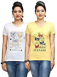 Flexicute Women's Printed V-Neck T-Shirt Combo Pack (Pack of 2)- Yellow & White Color. Sizes : S-32, M-34, L-36, XL-38