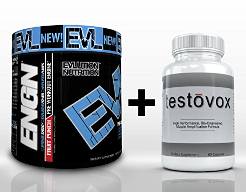 Engn (30 Servings) & Testovox (60 Capsules) - High Performance Muscle Building Combo. Professional Strength Bodybuilding Supplement Stack (Fruit Punch)
