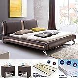 Polsterbett Malin 180x200 braun + 2x Nako Flash + Lattenrost + Matratzen Doppelbett Ehebett Designerbett
