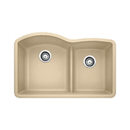 Blanco 441595 Diamond 1.75 Low Divide Under Mount Double Bowl Kitchen Sink, Large, Biscotti