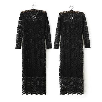 Zeagoo Women's Long V-neck Low-cu Evening Party Cocktail Dress Large Size Black