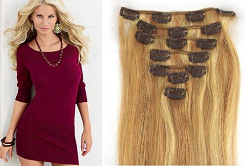 RemyHair Clip-In-Extensions fur komplette Haarverlangerung hochwertiges Remy-Echthaar 38CM 16clips 70g#18613 mischen
