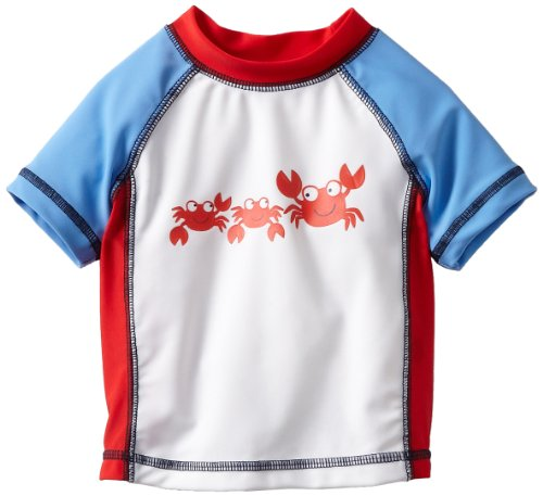 Little Me Baby-boys Infant Crab Rashguard, White Multi, 18 Months