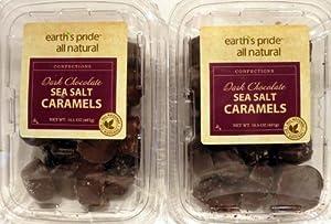 Earth's Pride All Natural Dark Chocolate Sea Salt Caramels 16.5 OZ Pack Of 2