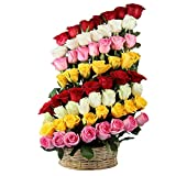 IGP Sixty Mix Roses Arrangement Basket (Bunch of 60)