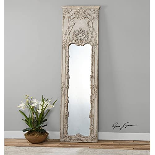 Tall Victorian Ornate Ivory Mirror | Oversize Wall, Floor or Leaner