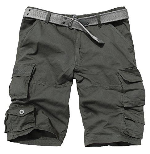 Fun Coolo Pantaloncini corti Bermuda Cargo short con tasconi laterali, con cintura grigio scuro S 46