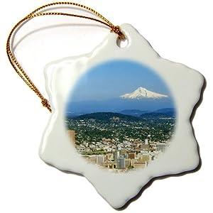 3dRose orn_93477_1 USA Oregon Portland City Skyline and Mt. Hood Jaynes Gallery Snowflake Decorative Hanging Ornament, Porcelain, 3-Inch