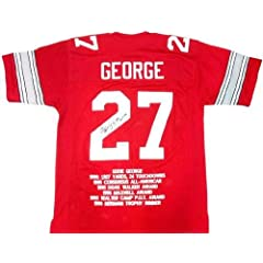 Eddie George Signed Ohio State Buckeyes Red Custom NCAA Jersey with H.T. 95...