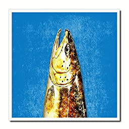 Brown Trout Fish Modern Art 14378 Custom Framed Giclee Print on Canvas Nautical Beach Fishing Design Restaurant Home Wall Interior Decoration Souvenir Gift Ideas - Blue 10\