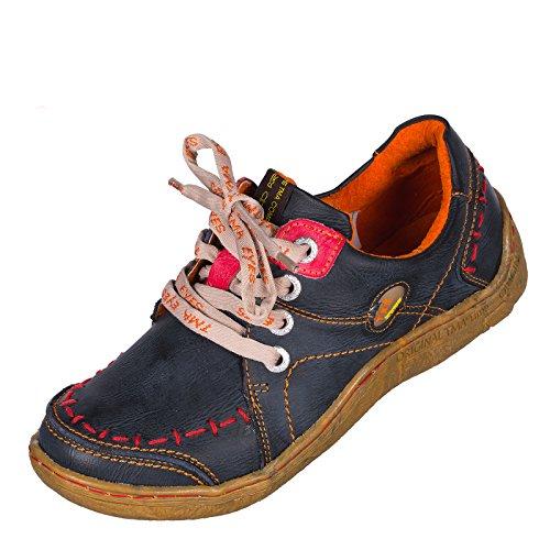 TMA EYES 1646 Halbschuh Gr.36-42 mit bequemen perforiertem Fußbett , Leder , Antikoptik ATMUNGSAKTIV in Antikschwarz und Antikgrün (36, Antikschwarz)