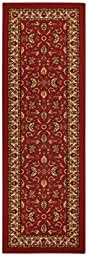 Rubber Back Red Traditional Floral Non-Slip (Non-Skid) Runner Rug 20\