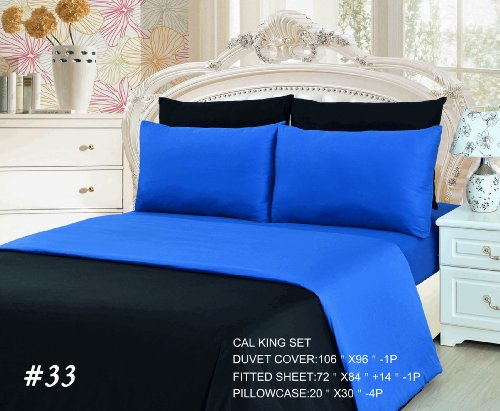 Tache 6 Piece Deep Blue Duvet Cover Set, Cal King front-1008991