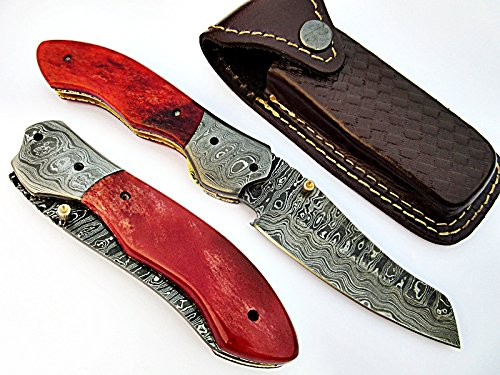 The Great Asparagus Folding Knife Damascus Steel Blade and Bolster Bone Handle