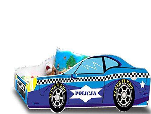 Lit enfant voiture policier sommier+matelas 140 x 70 cm