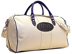 Floto Venezia Duffle Italian Leather Weekender Bag in Cream, Blue, and Black