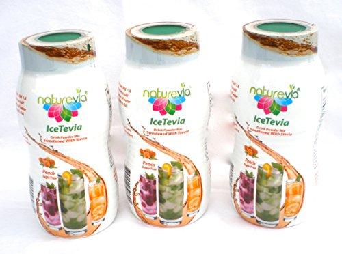 Naturevia Stevia Iced Tea Powder Mix Drink Peach Sugar Free with inulin Prebiotics 10.5 OZ 3-PACK (Natural Sugar Free Drink Mix compare prices)